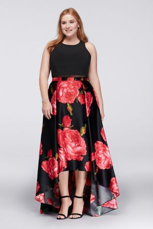 High Low Plus Size Gown With Illusion Waistline Davids