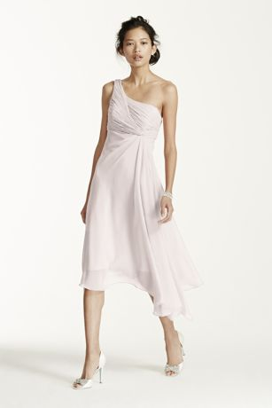 Short One Shoulder Chiffon Dress   David s Bridal Short Blue Soft   Flowy David s Bridal Bridesmaid Dress