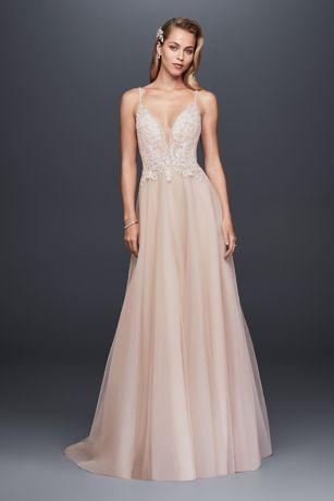 Sheer Beaded Bodice Organza A Line Wedding Dress Davids
