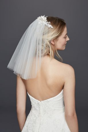 One Tier Cathedral Veil With Pearl Comb Davids Bridal