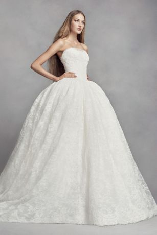 White By Vera Wang Corded Lace Wedding Dress Davids Bridal