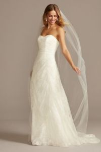 Allover Lace A Line Strapless Wedding Dress   David s Bridal Long A Line Country Wedding Dress   David s Bridal Collection