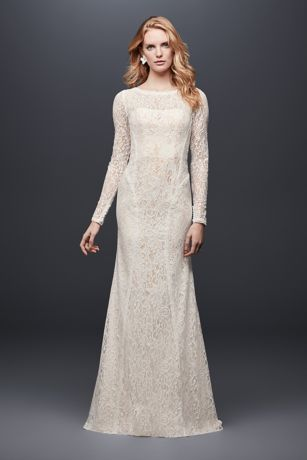 Allover Lace Delicate Dress   Davidsbridal Long Sleeve Allover Lace Sheath Wedding Dress