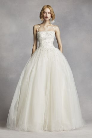Search Results White by Vera Wang Tulle Halter Wedding Dress VW351277