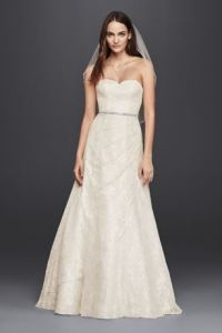 White A line Wedding Dresses   Gowns   David s Bridal Long A Line Simple Wedding Dress   David s Bridal Collection