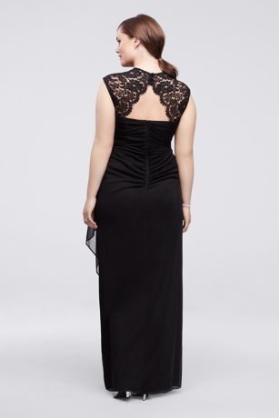 Cap Sleeve Long Jersey Dress with Lace Detail Style XS2195W   eBay Cap Sleeve Long Jersey Dress with Lace Detail