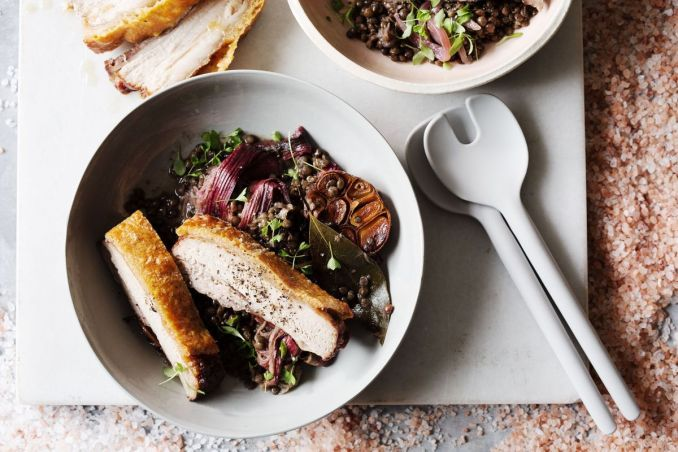Salted pork belly with rhubarb lentils - Recipes