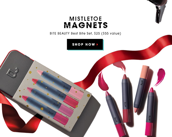 MISTLETOE MAGNETS. BITE BEAUTY Best Bite Set, $25 ($55 value). SHOP NOW