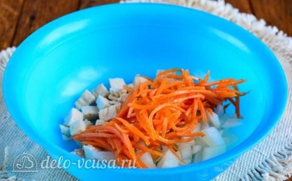Салат с корейской морковкой и курицей, рецепт с фото