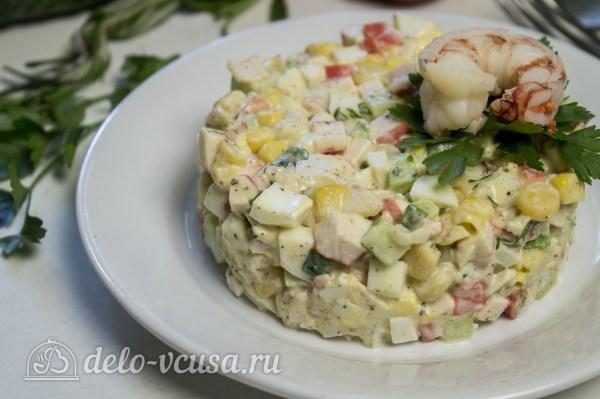 Салат с креветками и крабовыми палочками, рецепт с фото