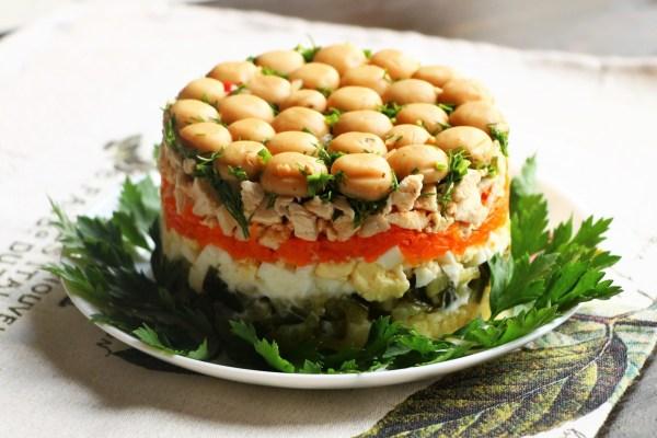 Салат Грибная поляна с шампиньонами, пошаговый рецепт с фото