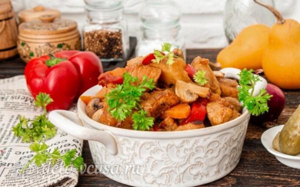 Жаркое со свининой, тыквой и овощами, пошаговый рецепт с фото