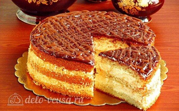 Бисквитный торт «Сладкий сон» с кремом из манки пошаговый ...