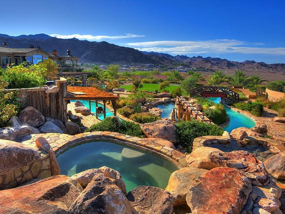 Spectacular Mansion with its own backyard WATER PARK ... on Mansion Backyard Ideas id=45432