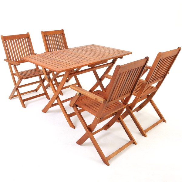 wood patio furniture table and chairs Wooden Garden Table & Chairs Set Sydney Acacia Wood