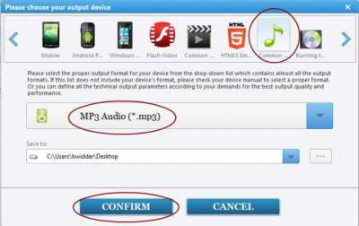 MP4 to MP3: AVC Output Select