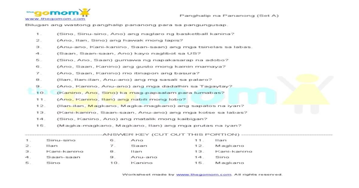 Worksheets Panghalip Paari