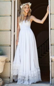 Affordable Wedding Gowns  Cheap Bridal Dresses at Discount Price     Spaghetti Strap Chiffon Lace Wedding Dress