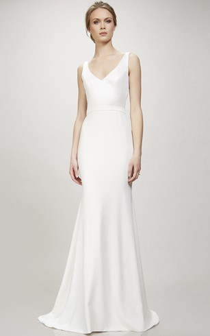Plain Style Wedding Gowns  Simple Bridal Dresses   Dorris Wedding Long V Neck Wedding Dress With Sweep Train And V Back