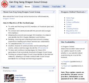 Site Availability screenshot on Facebook