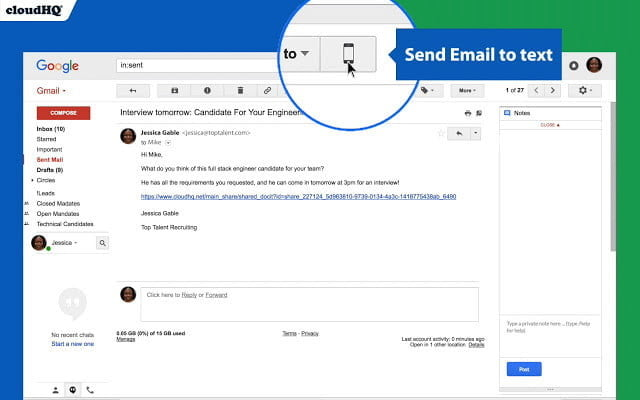 Chrome Email to Text