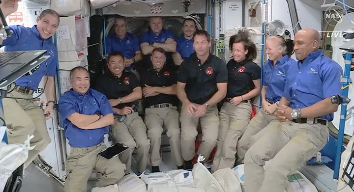 The four new SpaceX Crew-2 astronauts joined the Expedition 65 crew today bringing the station population to 11.