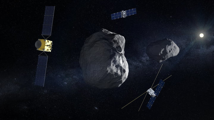Artist's impression of ESA's Hera Mission, a small spacecraft which aims to investigate whether an asteroid headed for Earth could be deflected.