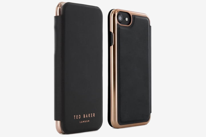 Ted Baker Proporta Mirror Folio case for iPhone 8 in black and rose gold