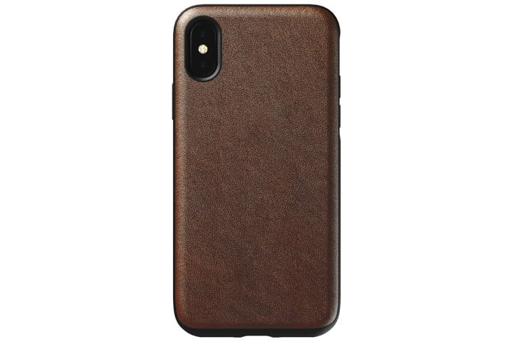 Photo shows the rear view of an iPhone XS in a brown leather case from Nomad