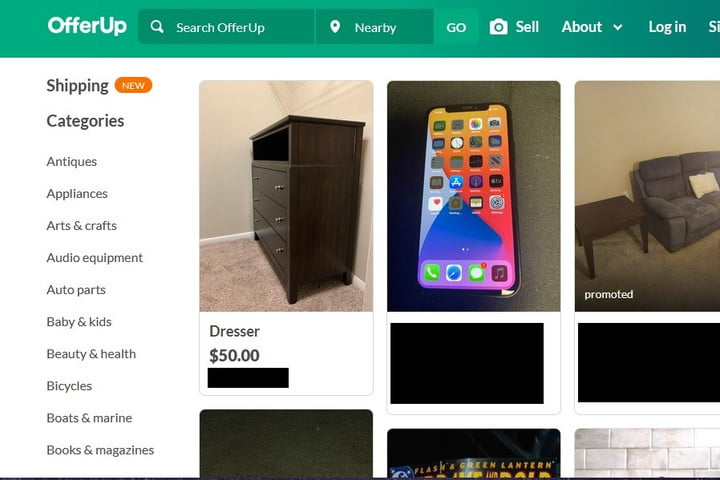OfferUp webpage screenshot