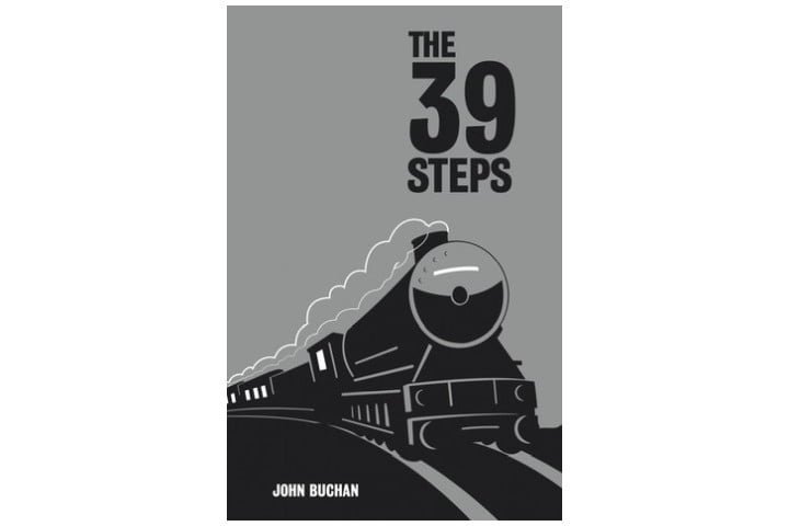 Picture shows the grey book cover with the title in large black letters and an illustration of a steam train in black