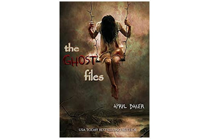 Photo shows the cover of the book with the title written in white and red letters, and a girl sitting on a swing with dark hair hanging down, obscuring her face. It's a creepy image.