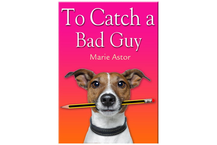 Book cover in orange and pink with a picture of a dog holding a pencil in its mouth