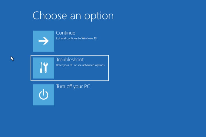 Windows 10 Choose an Option