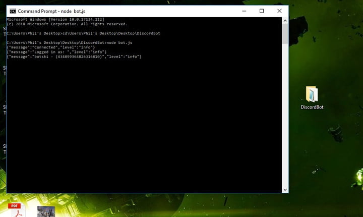 how to make a discord bot command prompt node bot js
