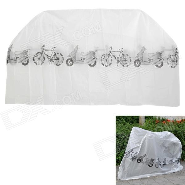 Anti-Dust Water Resistant Polyester Cover for Bike and Motorcycle - White + Black
