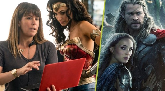 Patty Jenkins directing Gal Gadot in 'Wonder Woman' and the poster promoting 'Thor: The dark world'