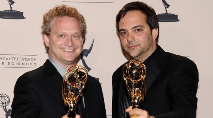 Schlesinger with his Emmy for his collaboration with the 'Crazy Ex-Girlfriend-