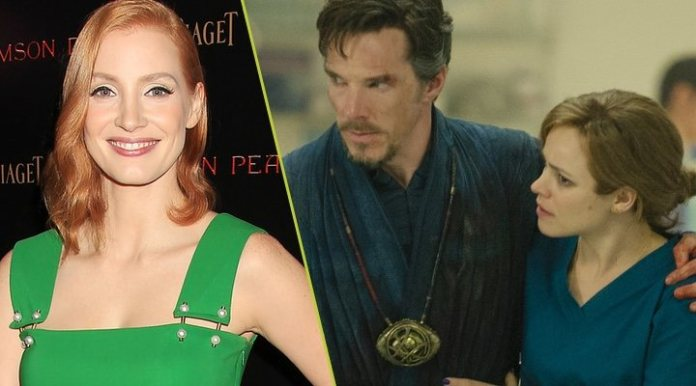 Jessica Chastain and a promotional image from the film 'Doctor Strange'