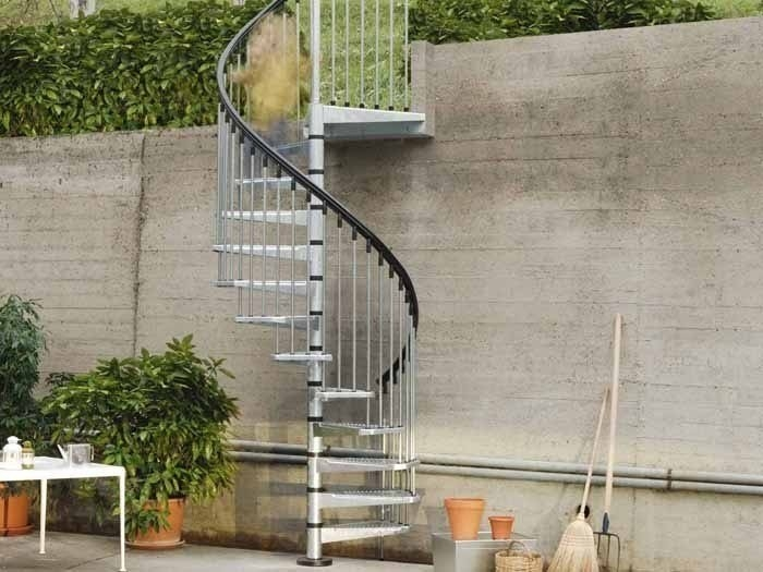 Outdoor Galvanized Steel Spiral Staircase Civik Zink By Fontanot   Metal Spiral Staircase For Sale   Cast Iron   Stair Railing   Staircase Kits   Wrought Iron   Handrail
