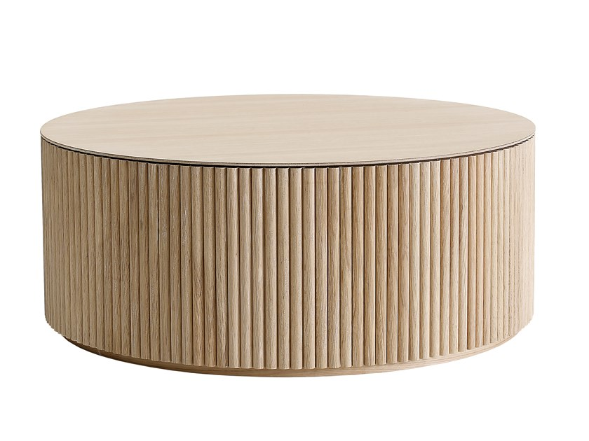 contemporary style round wooden coffee