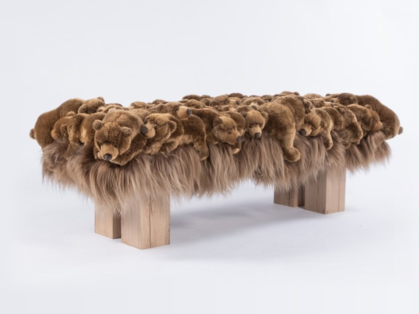 upholstered polyester bench grizzly