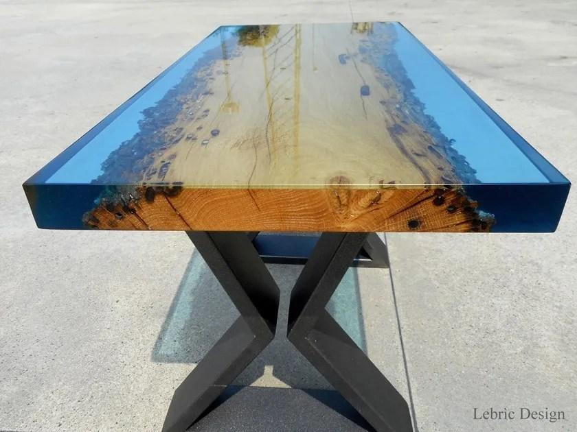 Tavolino In Legno Di Briccola E Resina Murano By Antico Trentino