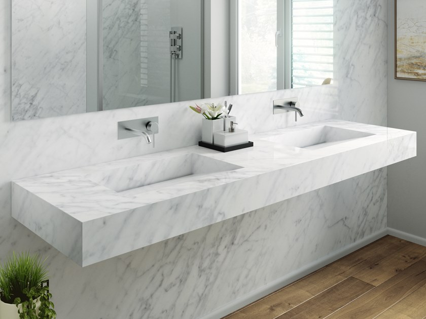 double carrara marble washbasin with