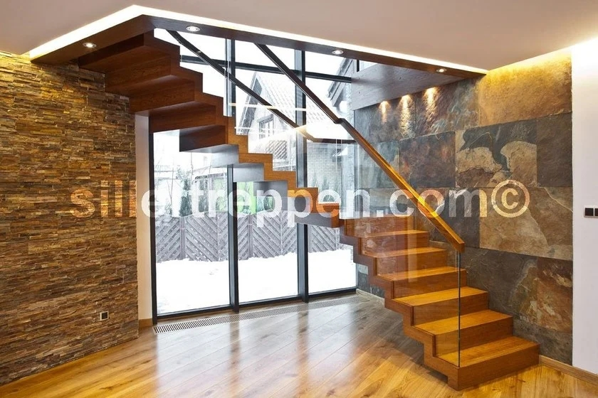 Zig Zag Design Wood And Glass Open Staircase By Siller Treppen   Staircase Design Wood Glass   Dark Wood   Modern Style Glass Railing   Spiral   Before And After   Timber