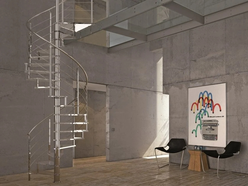 Self Supporting Glass And Steel Spiral Staircase Lafont Spira By | Self Supporting Spiral Staircase | Stairway | Concrete | Supporting Structure | Santa Fe | London Uk