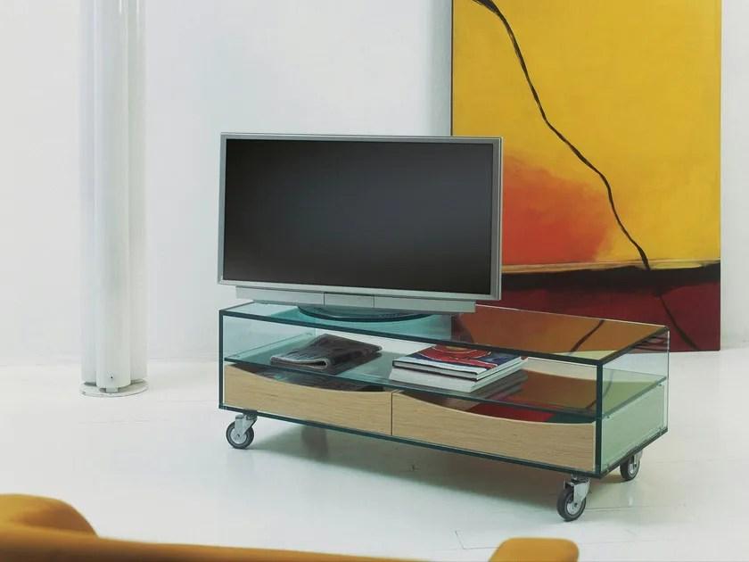 meuble tv en verre a roulettes como
