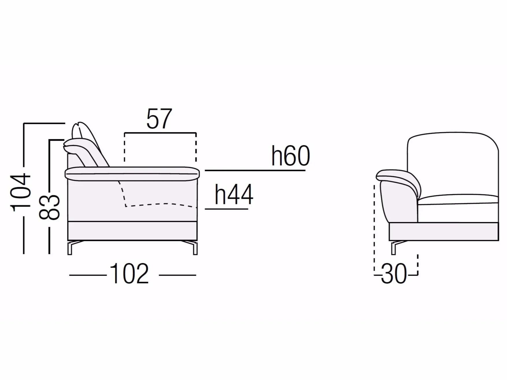Sectional Sofa With Chaise Longue Iris By Egoitaliano