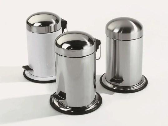 Resultado de imagem para lixo de metal cromado para banheiro