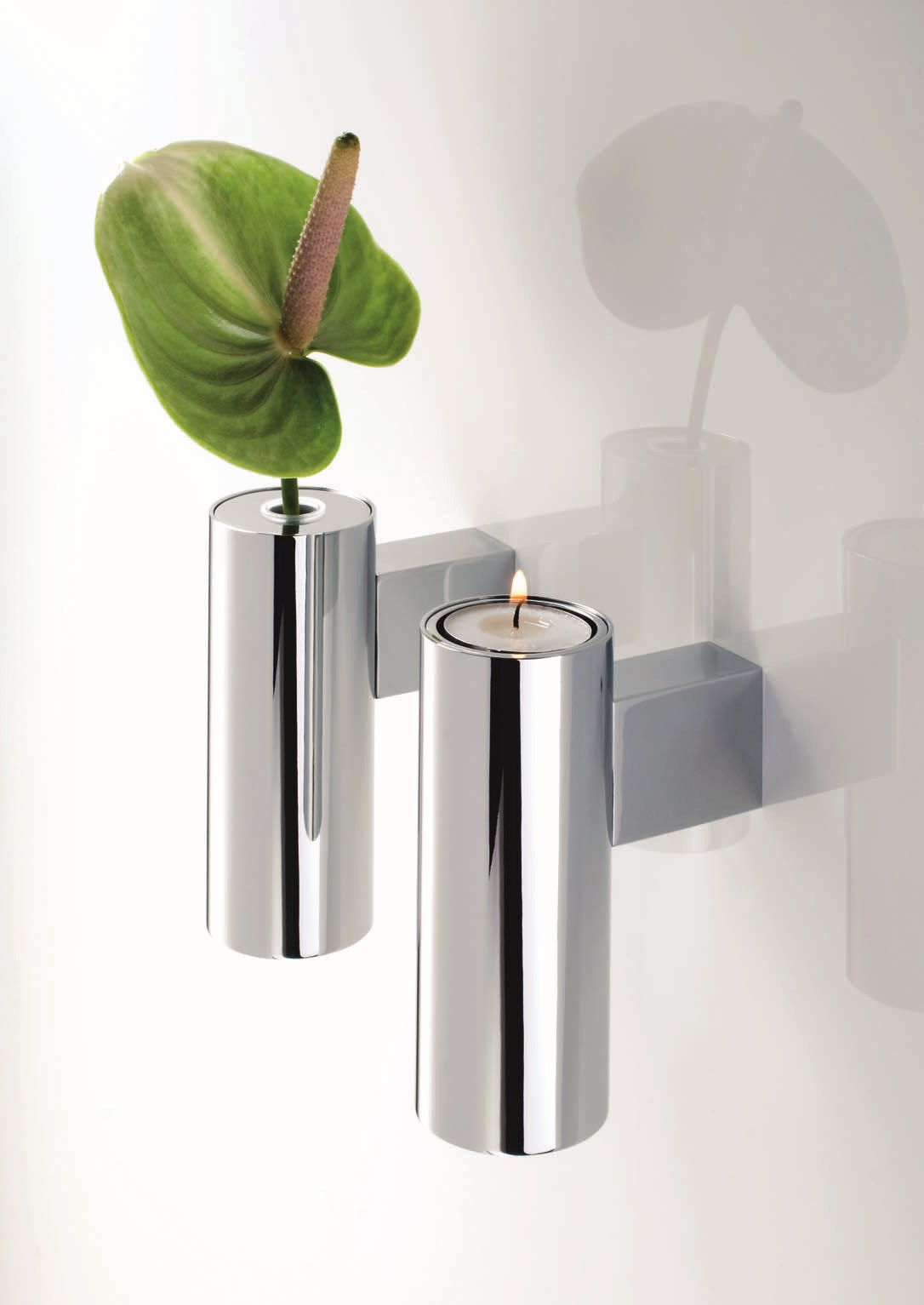 CHROME PLATED CANDLE HOLDER TB VKH TUBE COLLECTION BY ... on Decorative Wall Sconces Candle Holders Chrome id=42591